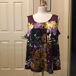 Silky sleeveless XL blouse